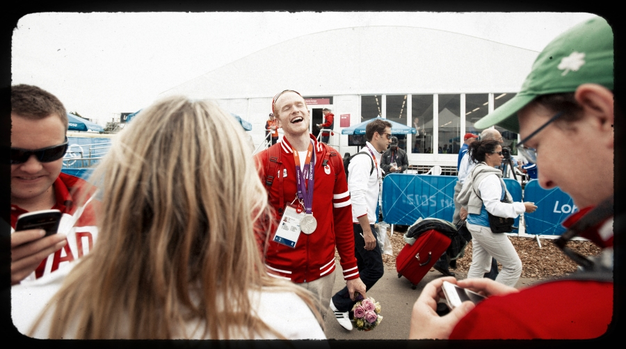 Will Crothers reacts to seeing friends and family following his Silver medal winning race.