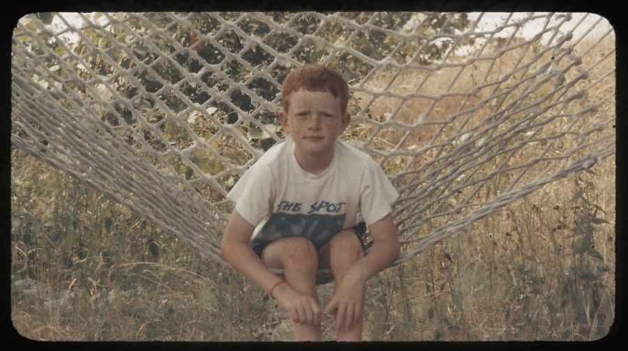 Will sitting on his Grandparents hammock on Wolf Island
