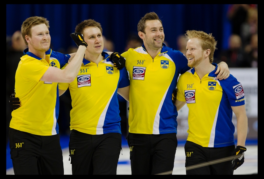 Sweden curling skip Niklas Edin Third Sebastian Kraupp Second Fredrik Lindberg and Lead Viktor Kjäll