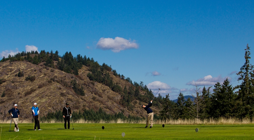 The Camosun College Chargers golf team plays in the Camosun College Inviational golf tournament at The Westin Bear Mountain Golf Resort & Spa in Victoria B.C. Canada on September 27, 2015.