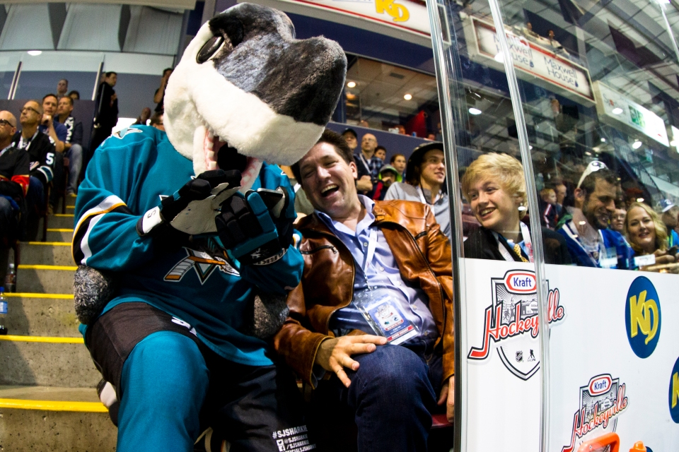 San Jose Shark fans enjoy the atmosphere during the Kraft Hockeyville exhibition game versus the Vancouver Canucks on September 21, 2015 at the Q centre in Colwood B.C. Canada. (Photo by Kevin Light/SanJose Sharks)