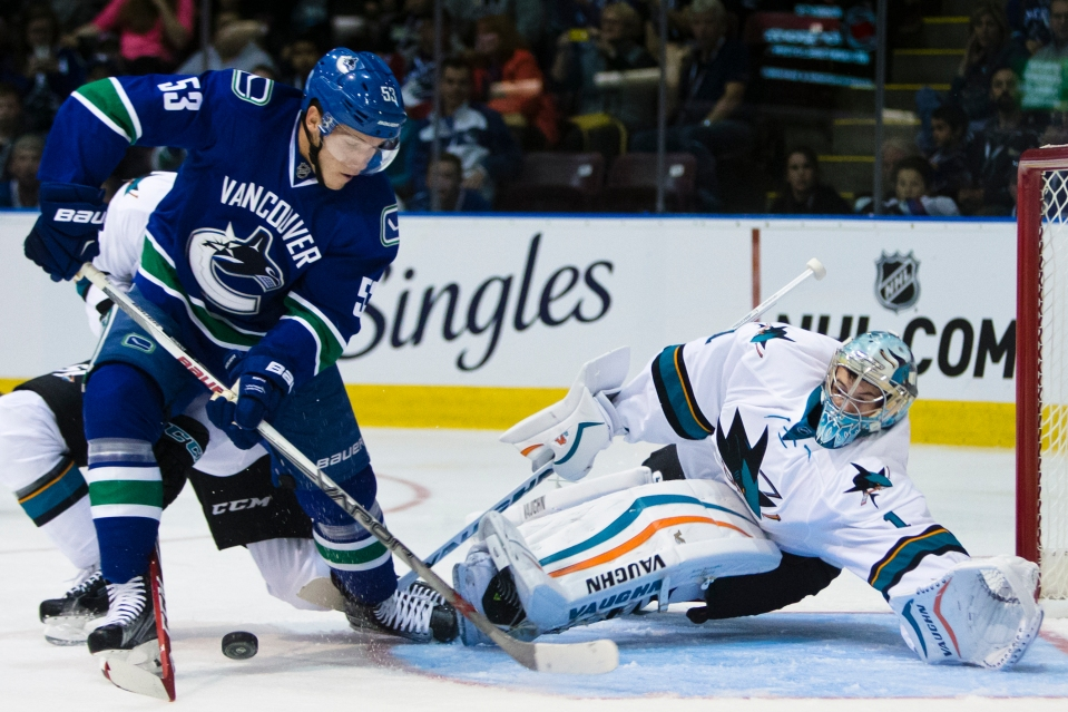 San Jose Sharks goaltender Troy Grosenick lunges to make a save on Vancouver Canuck Bo Horvat during their Kraft Hockeyville exhibition game on September 21, 2015 at the Q centre in Colwood B.C. Canada. (Photo by Kevin Light/SanJose Sharks)