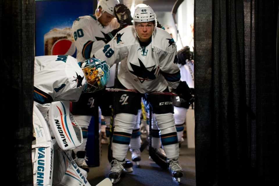 San Jose Shark Tomas Hertl prepares to face the Vancouver Canucks during their Kraft Hockeyville exhibition game on September 21, 2015 at the Q centre in Colwood B.C. Canada. (Photo by Kevin Light/SanJose Sharks)