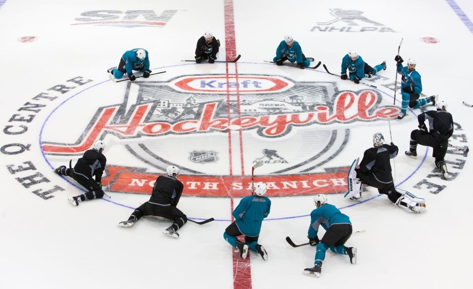 The San Jose Shark stretch at centre ice practice prior to their Kraft Hockeyville exhibition game versus the Vancouver Canucks on September 21, 2015 at the Q centre in Colwood B.C. Canada. (Photo by Kevin Light/SanJose Sharks)