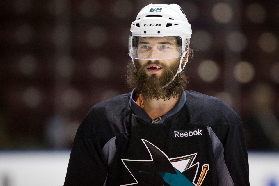San Jose Shark Brent Burns practices prior to his Kraft Hockeyville exhibition game versus the Vancouver Canucks on September 21, 2015 at the Q centre in Colwood B.C. Canada. (Photo by Kevin Light/SanJose Sharks)