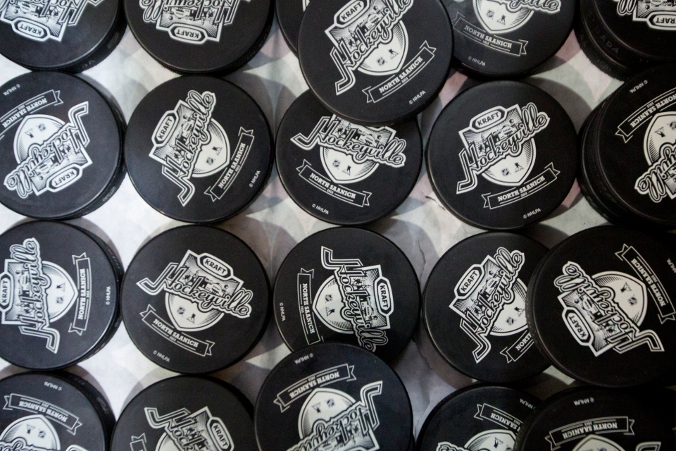 Kraft Hockeyville hockey pucks wait to be used prior to a exhibition game versus the Vancouver Canucks and San Jose Sharks on September 21, 2015 at the Q centre in Colwood B.C. Canada. (Photo by Kevin Light/SanJose Sharks)