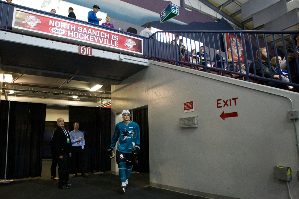 San Jose Shark Ryan Carpenter walks onto the ice for practice prior to his Kraft Hockeyville exhibition game versus the Vancouver Canucks on September 21, 2015 at the Q centre in Colwood B.C. Canada. (Photo by Kevin Light/SanJose Sharks)