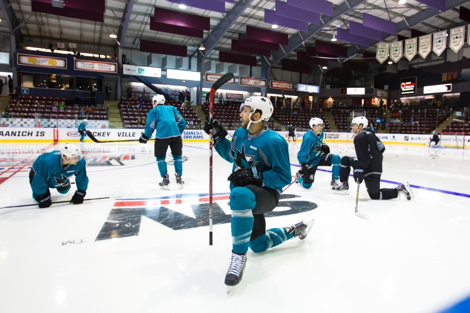 The San Jose Shark practice prior to their Kraft Hockeyville exhibition game versus the Vancouver Canucks on September 21, 2015 at the Q centre in Colwood B.C. Canada. (Photo by Kevin Light/SanJose Sharks)