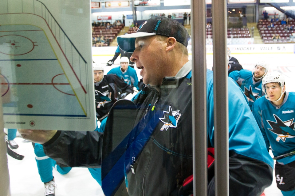 The San Jose Shark assistant coach Steve Spott runs practice prior to the teams Kraft Hockeyville exhibition game versus the Vancouver Canucks on September 21, 2015 at the Q centre in Colwood B.C. Canada. (Photo by Kevin Light/SanJose Sharks)