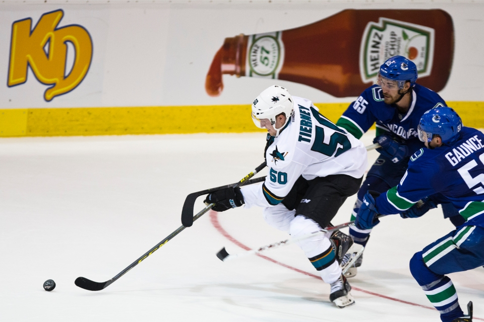 San Jose Shark Chris Tierney in action versus the Vancouver Canucks during their Kraft Hockeyville exhibition game on September 21, 2015 at the Q centre in Colwood B.C. Canada. (Photo by Kevin Light/SanJose Sharks)