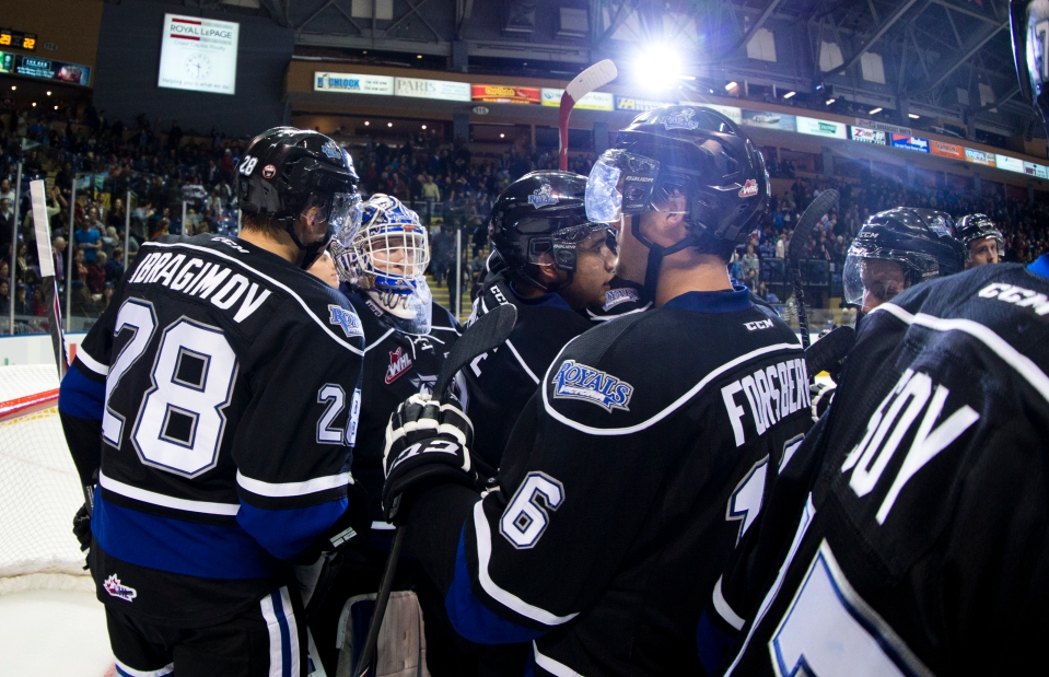 The Victoria Royals beat the Portland Winterhawks 4-1 in the opening game of the 2015/2016 Western Hockey League season on Friday September 25 at the Save-on-Foods Memorial Centre in Victoria, British Columbia, Canada.