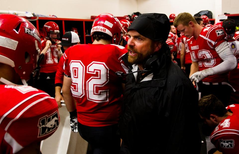 Westshore Rebels Head Coach JC Boise gets his team pumped up at half time versus the Kamloops Broncos at Westhills Stadium in Langford B.C. on Saturday August 29, 2015.