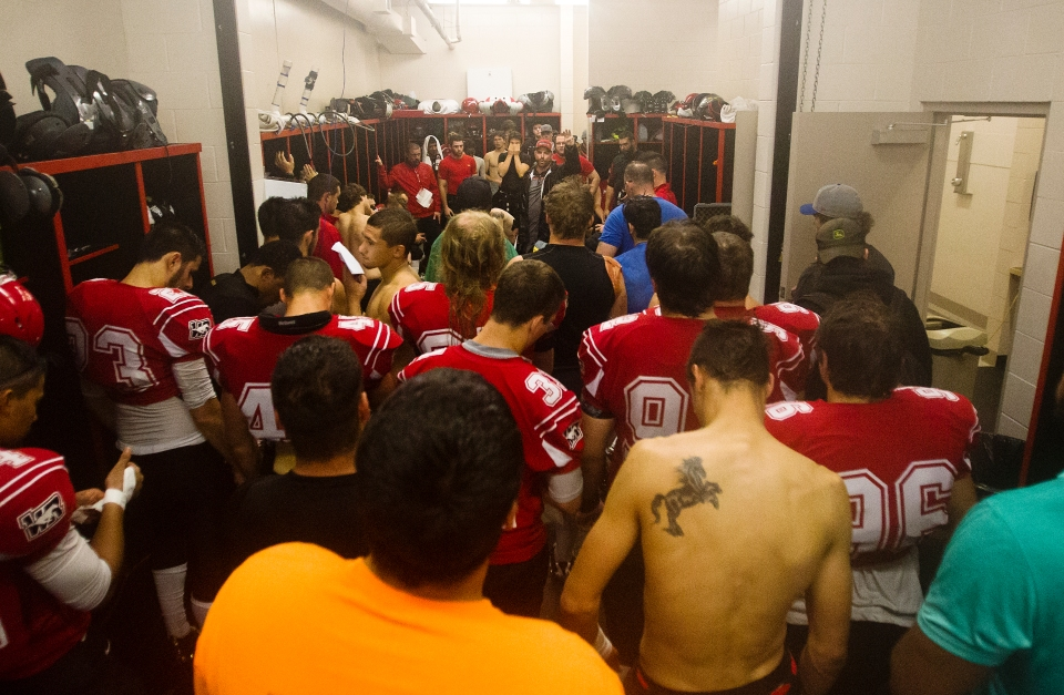 Westshore Rebels Head Coach JC Boise talks to his team following a tight 37-36 loss to the Kamloops Broncos at Westhills Stadium in Langford B.C. on Saturday August 29, 2015.