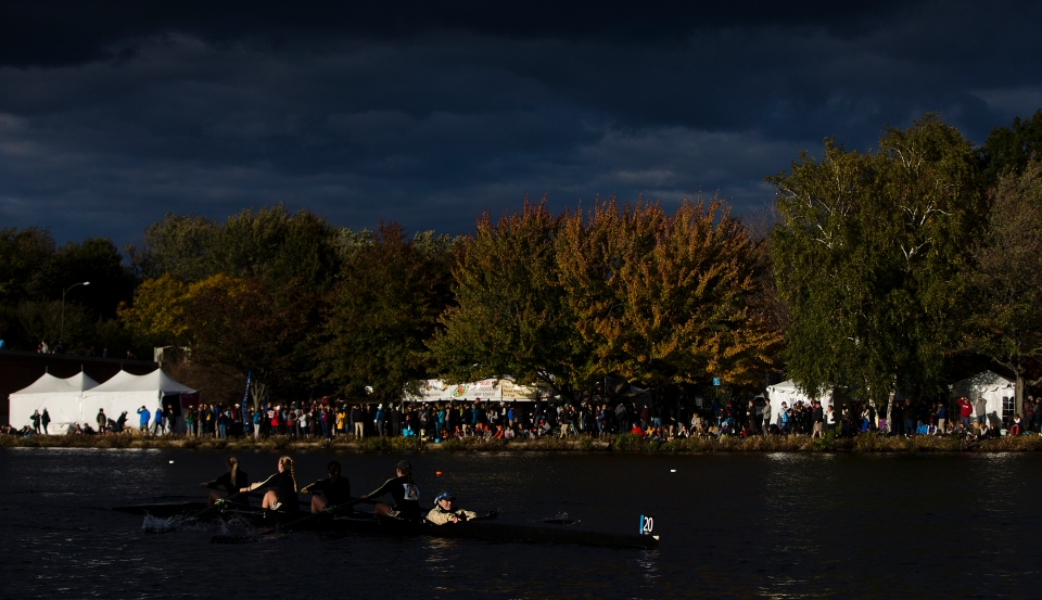 Franklin Pierce coxswain Arielle Landaeta steers her crew of Krystin Bernacki, Ella Scott, Karin Rozelsky and Samantha Pomer around the final turn in the Women's Collegiate Fours event at the Head of the Charles rowing regatta in Boston, Massachusetts on October 17th 2015.