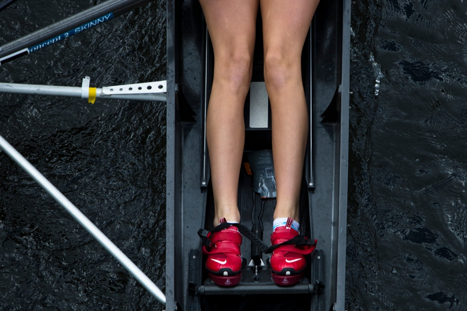 Katie King-Smith of Headington crews pushed her legs down in the Women's Youth Eights event at the Head of the Charles rowing regatta in Boston Massachusetts on October 18th 2015.