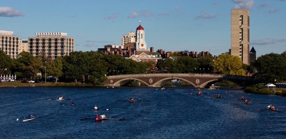 Crews complete a training session the day before the start of the Head of the Charles rowing regatta in Boston, Massachusetts on October 16th 2015.