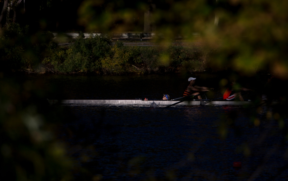 A coxed four goes for a training row the day before the start of the Head of the Charles rowing regatta in Boston, Massachusetts on October 16th 2015.