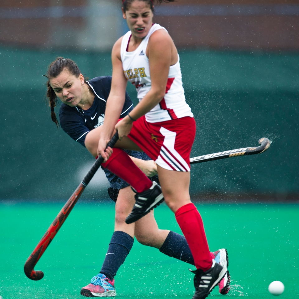 UVic Vikes tie the Guelph Gryphons 1-1 advancing to Sunday's gold medal final vs. UBC during the CIS Women's Field Hockey Championships in Victoria, B.C. Canada.