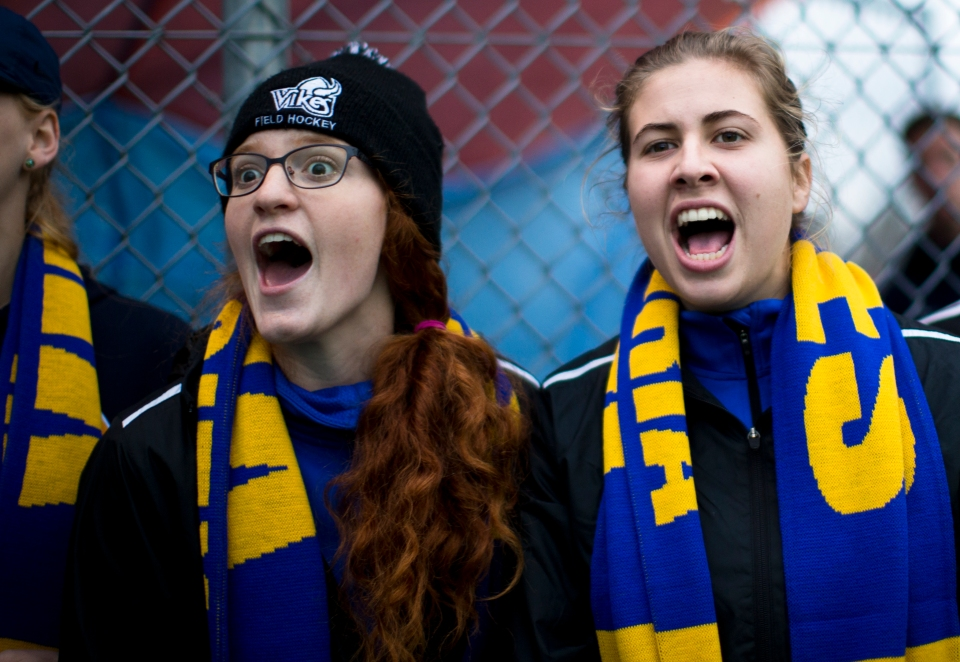 University of Victoria Vikes fans chear their team on during the gold medal match of the CIS Women's Field Hockey Championships versus the University of British Columbia Thunderbirds on November 8th, 2015 in Victoria, British Columbia, Canada.