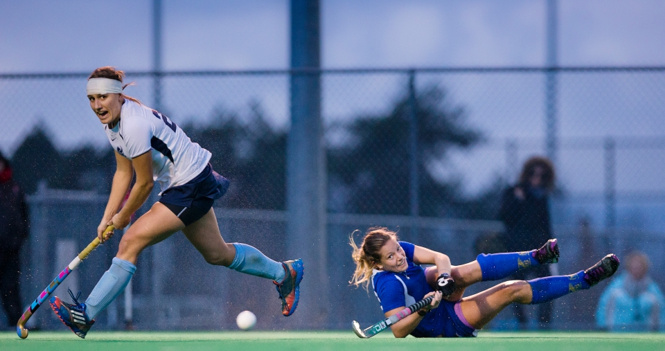 University of Victoria Vikes Lizzie Yates runs after the ball after University of British Columbia Thunderbird Amy Jones attempted a pass through the goal mouth in the gold medal match of the CIS Women's Field Hockey Championships on November 8th, 2015 in Victoria, British Columbia, Canada.