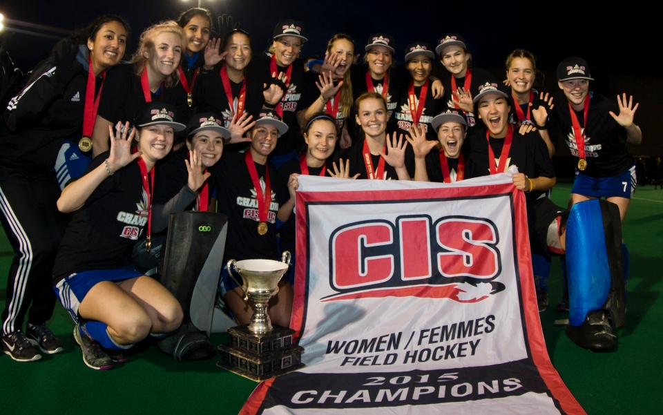 University of British Columbia Thunderbirds pose for a team photo following a 3-2 victory (3-1 in penalty shots) over the University of Victoria Vikes in the gold medal match of the CIS Women's Field Hockey Championships claiming their fifth straight McCrae Cup on November 8th, 2015 in Victoria, British Columbia, Canada.