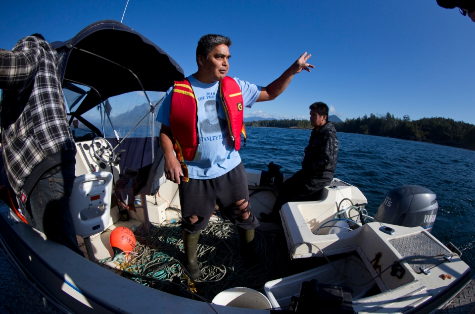 Clarence Smith explains the direction he saw the MV Leviathan II's emergency flare shoot into the air above waters just off Tofino, British Columbia, on Monday October 26th, 2015. Mr. Smith, a resident of the aboriginal village of Ahousht, was aboard his small pleasure craft, the King Fisher, when his fishing partner spotted the flare shoot up on Sunday afternoon. Mr. Smith had only a short gap to close but already, when he arrived, only the bow of the Leviathan could be seen. Many of the passengers were sightseeing on one side of the upper deck when a wave hit from the opposite side, flipping the boat and sending the 27 passengers and crew into the water, killing five of the passengers.