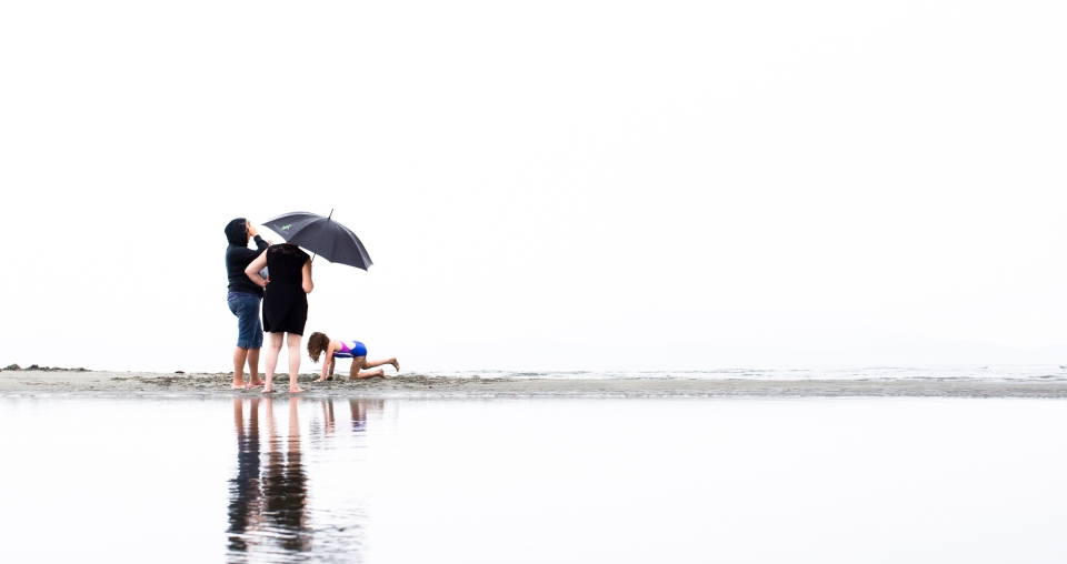 A child plays on the beach in Parksville B.C. Canada.