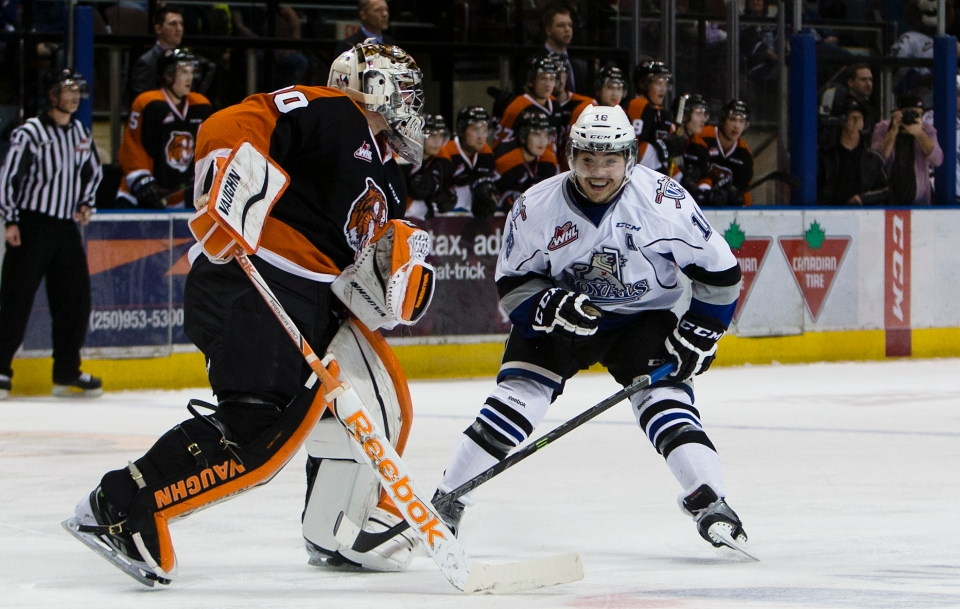 The Victoria Royals and Medicine Hat Tigers of the Western Hockey League square off at the Save-On-Foods Memorial Centre.