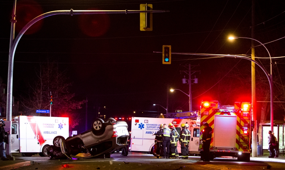 Paramedics respond to a car accident at Quadra and Princess.