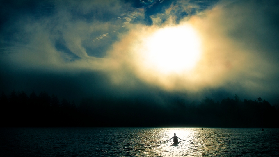 Rowing rower lake fog sunrise Photo © Kevin Light 0027