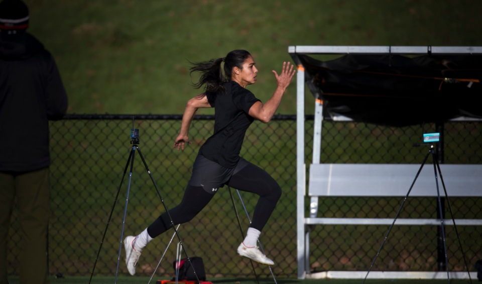 Magali Harvey completes a timed sprint test prior to a team practice at the Pacific Institute for Sports Excellence in Victoria, British Columbia Canada on January 25, 2016. (Kevin Light/CBCSports)