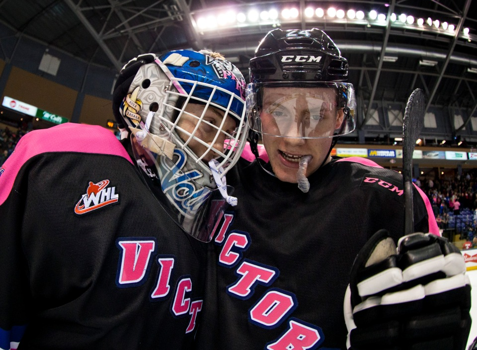 19 Victoria Royals vs Kamloops Blazers PINK Feb 20, 2016 ©KevinLightPhoto_MG_9838.JPG Coleman Vollrath Regan Nagy