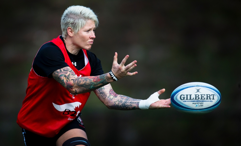 Jen Kish passes the ball during a team practice at the Pacific Institute for Sports Excellence in Victoria, British Columbia Canada on January 25, 2016. (Kevin Light/CBCSports)