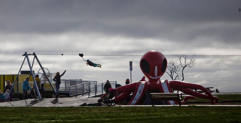 young girl rides a zip line at Cadboro-Gyro park Kevin Light Photo