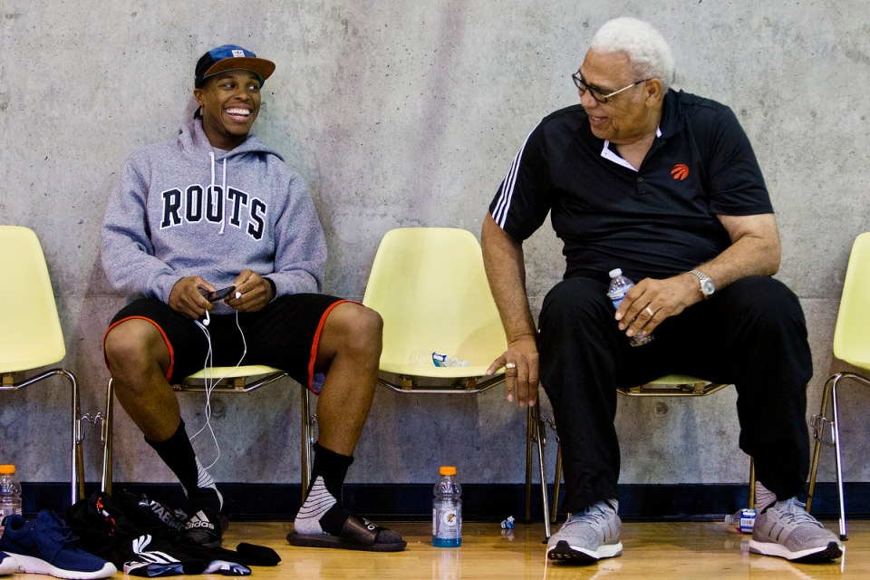 Kyle Lowry (left) and Wayne Embry of the NBA Toronto Raptors Training Camp Vancouver