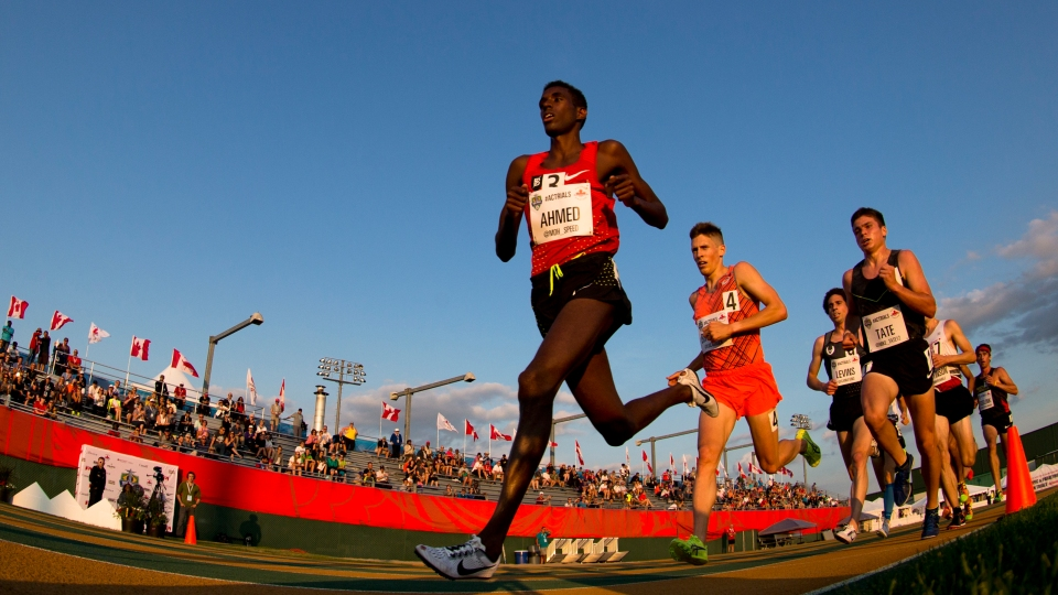 Athletes compete at the Canadian Track and Field Championships.