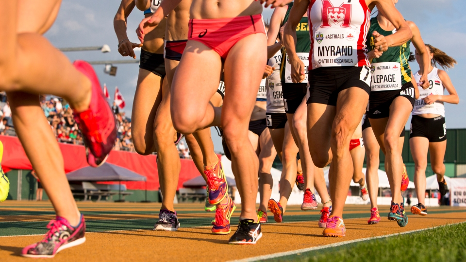 Athletes compete at the 2016 Canadian Track and Field Championships.