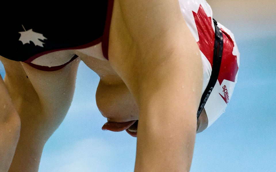Canadian National Team Swimmer Sarah Darcel trains at the Saanich Commonwealth Place.
