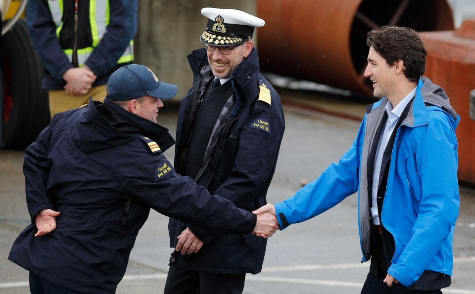Canada's Prime Minister Trudeau meets with Canadian coast guard workers in Victoria