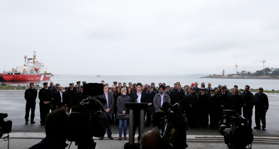 Canada's Prime Minister Justin Trudeau, takes questions from the media following his meeting with Canadian coast guard workers aboard the Sir Wilfrid Laurier in Victoria